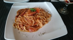 Spicy tomato smoked duck pasta.  They served a generous serving of thick slices of smoked duck. I thought the heat from spicy tomato sauce was to my palette but according to my friend, she found it very spicy.